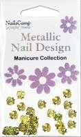 Metallic Nail Design Inlay Rose dorée