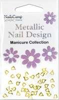 Metallic Nail Design Inlay Coeur doré